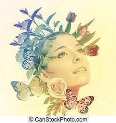 schöne frau, mit, blumen, und, vlinders