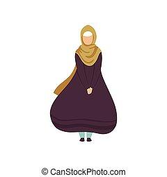 schöne frau, moslem, abbildung, traditionelle , vektor, kleidung