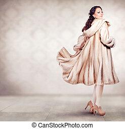 schöne frau, pelz, winter mantel, mode, luxus, nerz