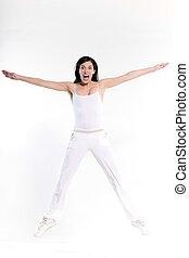 schöne frau, sie, strecken, workout, junger, freigestellt, springen, studio, hintergrund, weißes, glücklich