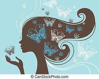 schöne frau, silhouette, papillon