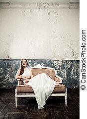schöne frau, sofa, mode, retro, hintergrund, weinlese, modell, kleiden, weißes