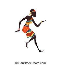 schöne frau, tanzen, tänzer, ethnisch, abbildung, traditionelle , eingeboren, vektor, weiblicher afrikaner, kleidung