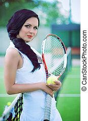 schöne frau, tennis, spielende