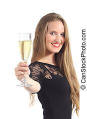 schöne frau, toasten, champagner