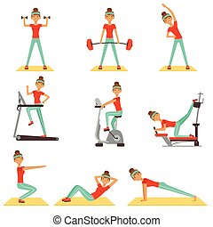 schöne frau, trainieren, turnhalle, mit, sport ausrüstungen, satz, von, bunte, vektor, illustrationen
