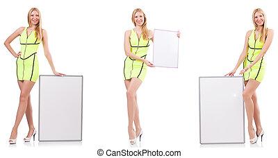 schöne frau, whiteboard, freigestellt, besitz, weißes
