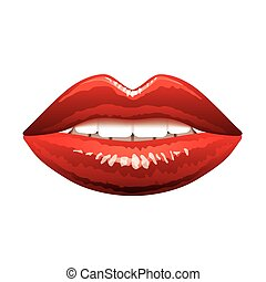 schöne , freigestellt, lippen, vektor, weiß rot
