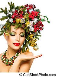 schöne , frisur, baum, woman., feiertag, weihnachten