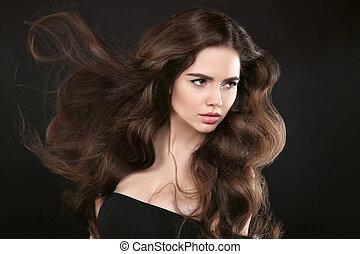 schöne , frisur, brünett, schoenheit, klar, aufmachung, freigestellt, langer, dunkel, hintergrund., wellig, studio, blasen, hair., porträt, m�dchen, glänzend, modell