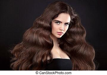 schöne , frisur, brünett, schoenheit, lockig, klar, hair., freigestellt, langer, dunkel, hintergrund., wellig, blasen, studio, aufmachung, haut, porträt, m�dchen, glänzend, modell