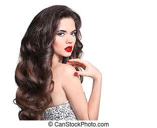 schöne , frisur, brünett, studio, frau, gesunde, glänzend, freigestellt, makeup., hintergrund., lippen, mode, posierend, langer, hair., wellig, m�dchen, portrait., weiß rot