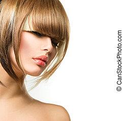 schöne , frisur, frau, franse, haarschnitt, kurz, hair., ...