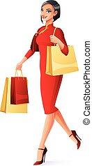 schöne , gehen, frau- einkaufen, illustration., chinesisches , vektor, asiatisch, bags.