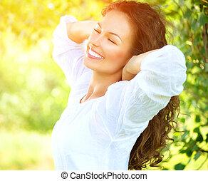 schöne , genießen, frau, natur, outdoor., junger