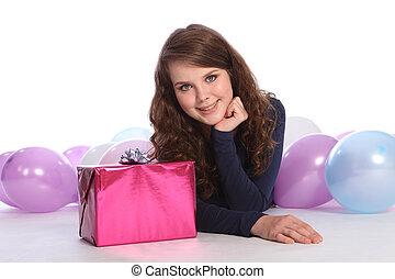 schöne , geschenk, geburstag, teenager, partei mädchen