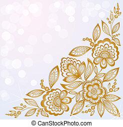 schöne , gold, geschnitzt, hintergrund, ecke, dekoriert, blumen