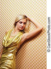 schöne , goldener hintergrund, abstrakt, blond, m�dchen, kleiden