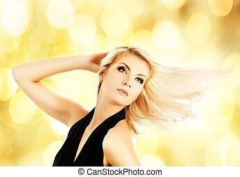 schöne , goldenes, frau, hintergrund, aus, blond, abstrakt