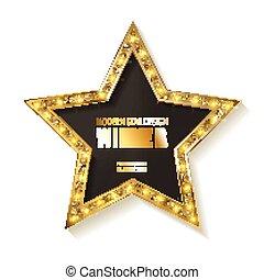 schöne , goldenes, gewinner, etikett, design, glänzend