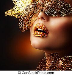 schöne , goldenes, makeup., luxus, make-up, professionell, feiertag