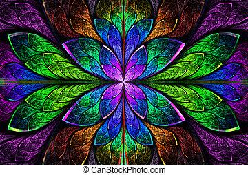schöne , grafik, pattern., mehrfarbig, erzeugt, edv, fractal