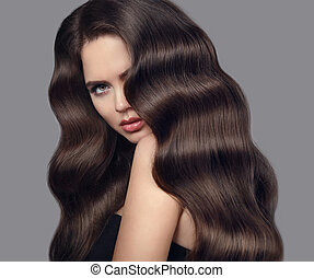 schöne , graue , frisur, brünett, schoenheit, lockig, gesunde, aufmachung, freigestellt, langer, eyeliner, hintergrund., wellig, studio, hair., porträt, m�dchen, glänzend, modell
