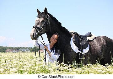 schöne , graue , pferd, frau, junger, porträt