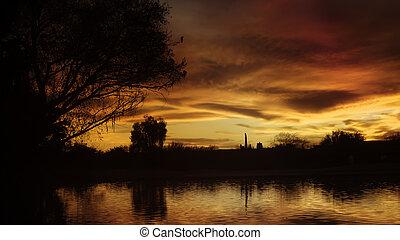 schöne , groß, arizona, sonnenuntergang
