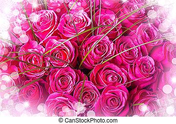 schöne , groß, blumengebinde, von, rosafarbene rosen