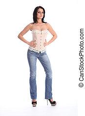schöne , groß, frau, tragen, korsett, und, jeans