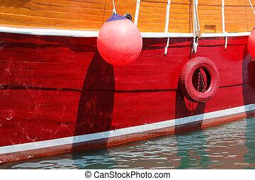 schöne , groß, schiff, closeup, segeln