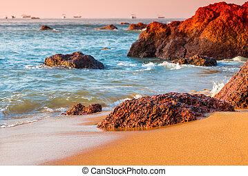 schöne , groß, steine, liegen, auf, der, wasserlandschaft, shore., getönt, in, red.