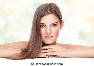 schöne , haar, gerade, brünett, langer