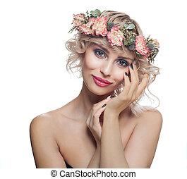 schöne , haarschnitt, kurz, nägel, aufmachung, freigestellt, manicured, modell, blumen, weißes