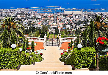 schöne , haifa, ansicht, von, mittelmeer, und, bahai, gärten