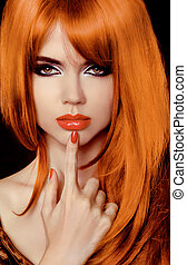 schöne , haircut., hairstyle., gesunde, langer, secret., hair., stilvoll, modell, fringe., woman.