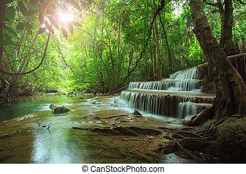 schöne , hauy, mae, kamin, wasser, fällt, in, tief, wald, kanchanaburi, westlich, von, thailand