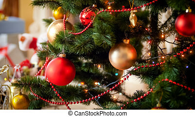 schöne , hintergrund, für, winter, feiertage, mit, dekoriert, weihnachtsbaum