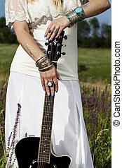 schöne , hippie, m�dchen, mit, a, gitarre