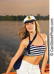 schöne , hut, m�dchen, captain's, yacht