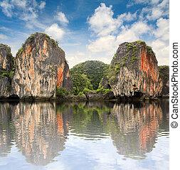 schöne , inseln, wasserlandschaft, thailand
