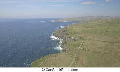 schöne, irisch, Luftaufnahmen,  Moher, grafschaft, landschaftsbild, Anziehungskraft, irland, episch, irland,  Tourist, Natur, Landschaft,  clare, atlantisch, entlang, landschaftlich, weg, wasserlandschaft,  wild, Klippen,  Burren