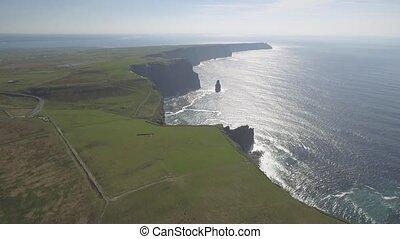 schöne, irisch, Luftaufnahmen, Moher, grafschaft,...
