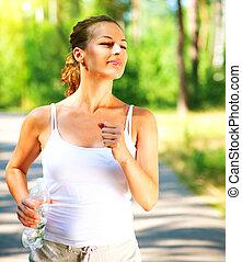 schöne , jogging, frau, draußen, sportliche