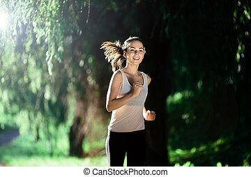 schöne , jogging, frau, natur
