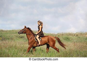 schöne , jugendlich, pferd, feld, reiten, m�dchen