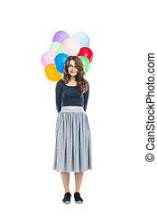 schöne , junge frau, besitz, farbenprächtige luftballons, hinten, sie, zurück