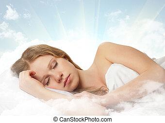 schöne , junge frau, eingeschlafen, auf, a, wolke, in, der, himmelsgewölbe
