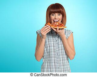 schöne , junge frau, essende, a, pizza- torte